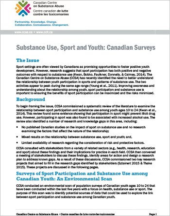 Substance Use, Sport and Youth: Canadian Surveys