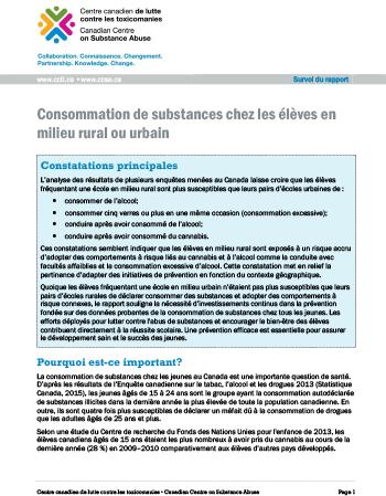 Consommation de substances chez les élèves en milieu rural ou urbain (Survol du rapport)