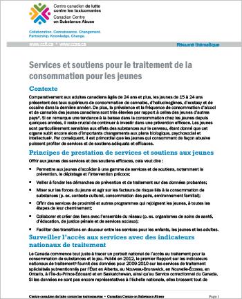 Services et soutiens pour le traitement de la consommation pour les jeunes (Résumé thématique)