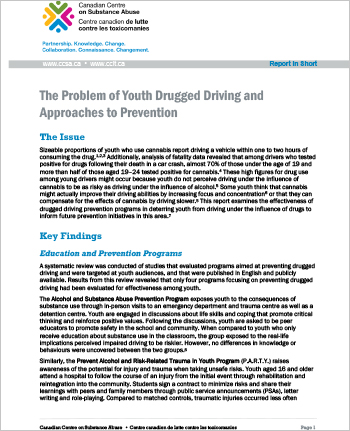 The Problem of Youth Drugged Driving and Approaches to Prevention: Report in short