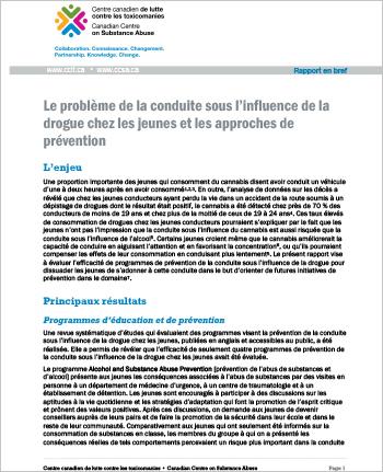 Le problème de la conduite sous l'influence de la drogue chez les jeunes et les approches de prévention : Rapport en bref