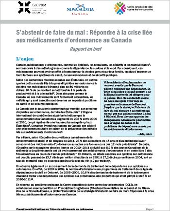 S'abstenir de faire du mal : Répondre à la crise liée aux médicaments d'ordonnance au Canada (Rapport en bref)