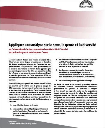 Appliquer une analyse sur le sexe, le genre et la diversité au Cadre national d'action pour réduire les méfaits liés à l'alcool et aux autres drogues et substances au Canada