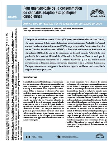 Pour une typologie de la consommation de cannabis adaptée aux politiques canadiennes : Analyse tirée de l'Enquête sur les toxicomanies au Canada de 2004
