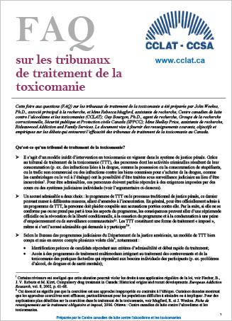 FAQ sur les tribunaux de traitement de la toxicomanie