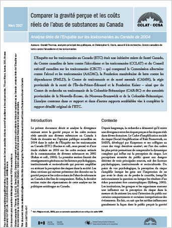 Comparer la gravité perçue et les coûts réels de labus de substances au Canada