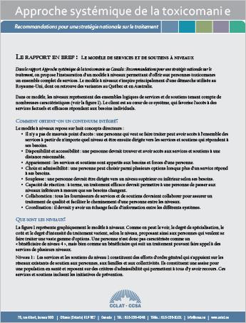 Le rapport en bref : Le modèle de services et de soutiens à niveaux