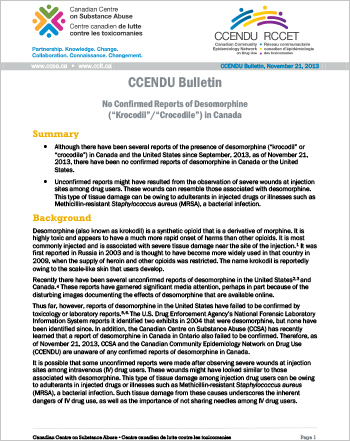 "No Confirmed Reports of Desomorphine (""Krocodil""/""Crocodile"") in Canada (CCENDU Bulletin)"