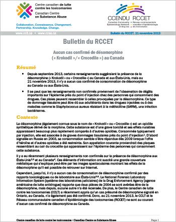 Aucun cas confirmé de désomorphine (« Krokodil »/« Crocodile ») au Canada (Bulletin du RCCET, 21 novembre 2013)