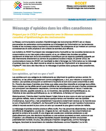 Mésusage d'opioïdes dans les villes canadiennes (Bulletin du RCCET, avril 2013)