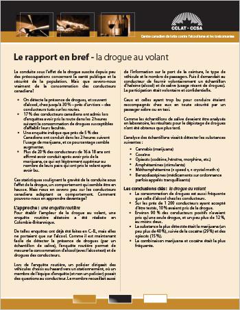 Le rapport en bref – la drogue au volant