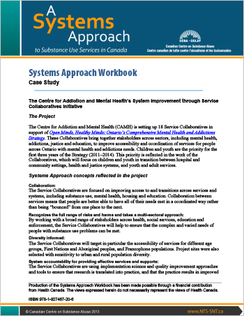 Systems Approach Workbook: Case Study: The Centre for Addiction and Mental Health's System Improvement through Service Collaboratives initiative