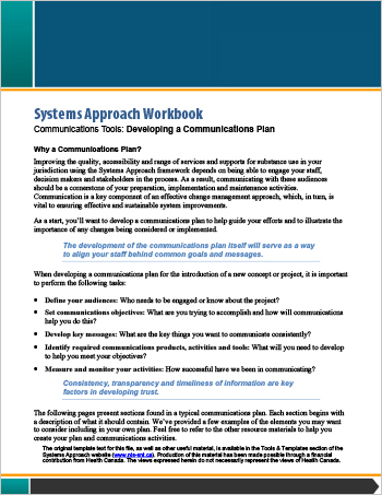 Systems Approach Workbook: Communications Tools: Developing a Communications Plan
