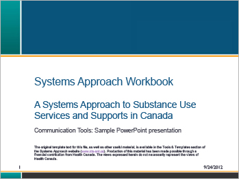 Systems Approach Workbook [presentation]