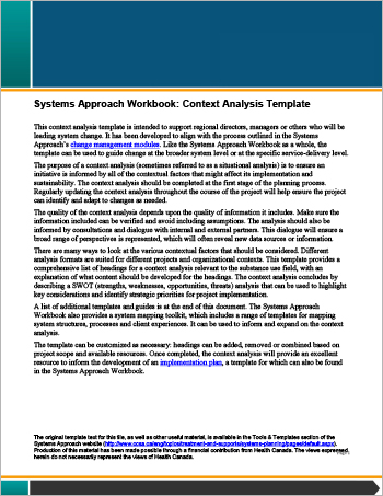 Systems Approach Workbook: Context Analysis Template