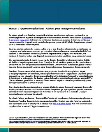 Manuel d'Approche systémique : Gabarit pour l'analyse contextuelle