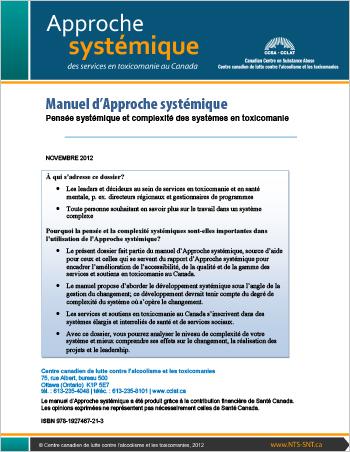 Manuel d'Approche systémique : Pensée systémique et complexité des systèmes en toxicomanie