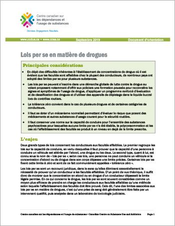 Lois per se en matière de drogues [Document dorientation]