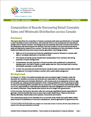 Composition of Boards Overseeing Retail Cannabis Sales and Wholesale Distribution across Canada [Policy Brief]