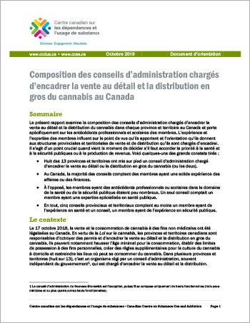 Composition des conseils d'administration chargés d'encadrer la vente au détail et la distribution en gros du cannabis au Canada [Document d'orientation]