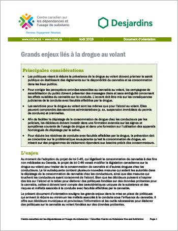 Grands enjeux liés à la drogue au volant [Document dorientation]