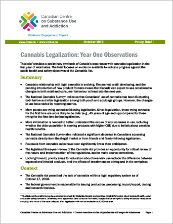 Cannabis Legalization: Year One Observations