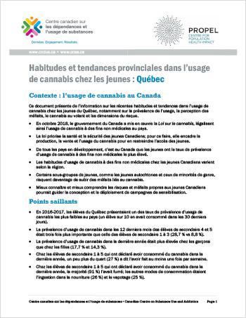 Habitudes et tendances provinciales dans l'usage de cannabis chez les jeunes : Québec