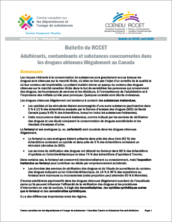 Adultérants, contaminants et substances cooccurrentes dans les drogues obtenues illégalement au Canada (Bulletin du RCCET)