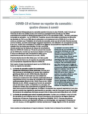 COVID-19 et fumer ou vapoter du cannabis : quatre choses à savoir [rapport]