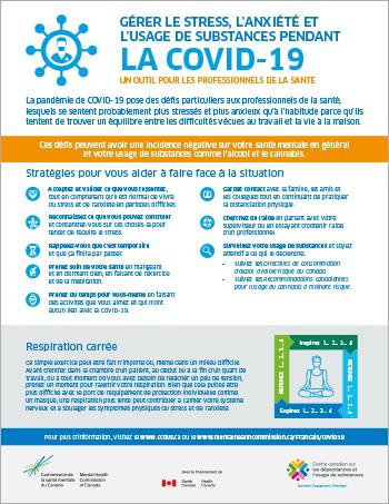 Gérer le stress, l'anxiété et l'usage de substances pendant la COVID-19 : un outil pour les professionnels de la santé [infographie]