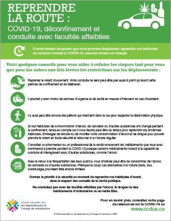 Reprendre la route : COVID-19, déconfinement et conduite avec facultés affaiblies [infographie]