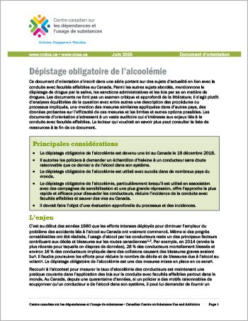 Dépistage obligatoire de l'alcoolémie [Document dorientation]