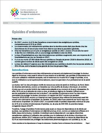 Opioïdes d'ordonnance (Sommaire canadien sur la drogue)