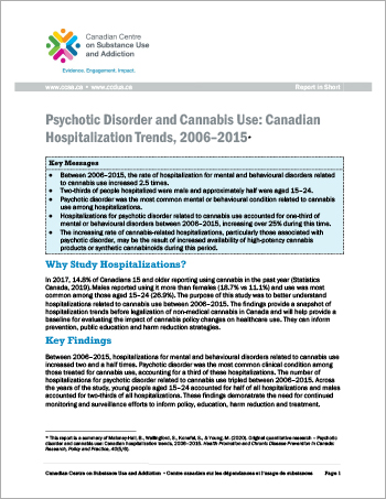 Psychotic Disorder and Cannabis Use: Canadian Hospitalization Trends, 2006–2015 [Report in Short]