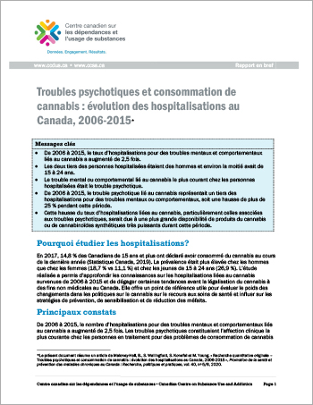 Troubles psychotiques et consommation de cannabis : évolution des hospitalisations au Canada, 2006-2015 [Rapport en bref]