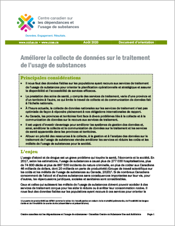 Améliorer la collecte de données sur le traitement de l'usage de substances [Document dorientation]