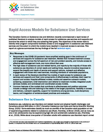 Rapid Access Models for Substance Use Services (Report at a Glance)