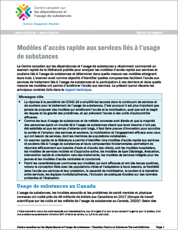 Modèles d'accès rapide aux services liés à l'usage de substances (Survol du rapport)