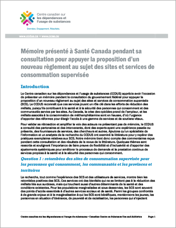 Mémoire présenté à Santé Canada pendant sa consultation pour appuyer la proposition d'un nouveau règlement au sujet des sites et services de consommation supervisée
