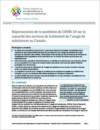 Répercussions de la pandémie de COVID-19 sur la capacité des services de traitement de l usage de substances au Canada