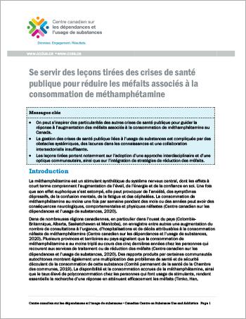 Se servir des leçons tirées des crises de santé publique pour réduire les méfaits associés à la consommation de méthamphétamine [rapport]