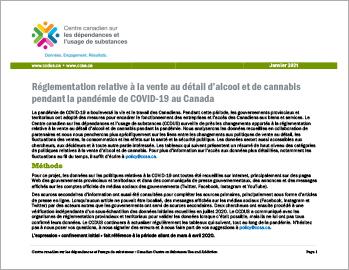 Réglementation relative à la vente au détail d'alcool et de cannabis pendant la pandémie de COVID-19