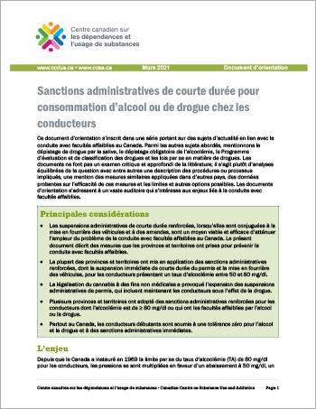 Sanctions administratives de courte durée pour consommation d'alcool ou de drogue chez les conducteurs [Document dorientation]