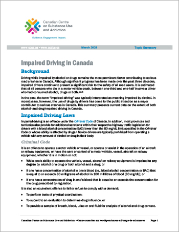 Impaired Driving In Canada (Topic Summary)