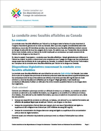 La conduite avec facultés affaiblies au Canada (Résumé thématique)