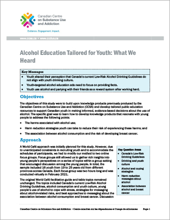 Alcohol Education Tailored for Youth: What We Heard [report]