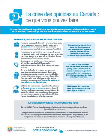 La crise des opioïdes au Canada :  ce que vous pouvez faire [affiche]