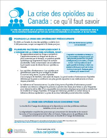 La crise des opioïdes au Canada : ce qu'il faut savoir [affiche]