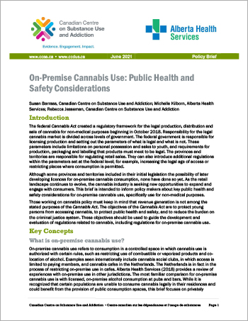 On-Premise Cannabis Use: Public Health and Safety Considerations [Policy Brief]