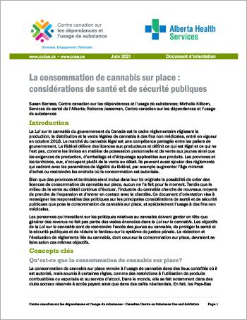 La consommation de cannabis sur place : considérations de santé et de sécurité publiques [Document d'orientation]